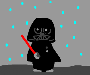 sad Darth Vader in the rain