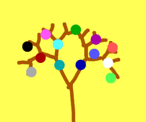 Tree bearing many colors of fruit
