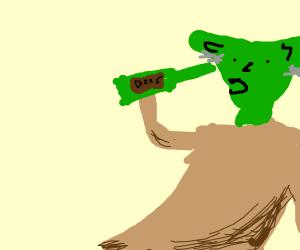 Yoda drinking beer