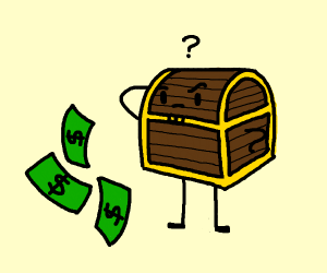 An confused treasure chest staring at bills