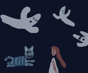 Cheshire Cat + Alice meet in the Phantom zone
