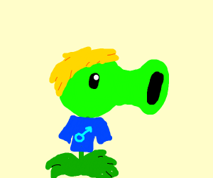 Plant with guy with yellow hair
