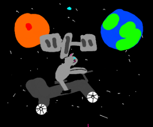 mouse on a motorcycle in space