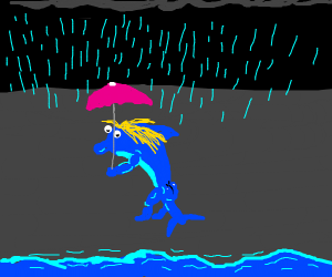 Dolphin with blonde hair is in the rain