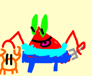 Mr Crabs is about to indulge in cannibalism