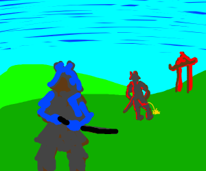 A samurai stands watch while his buddy pisses