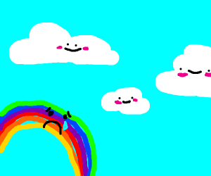 rainbow wishing to be like other clouds