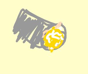 A gray egg burritto