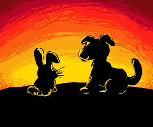 Rabbit and dog enjoy a sunset