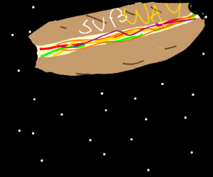 subwasy sandwich in space with subway on it
