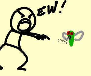 Man screams ew at a cicada that eats rocks.