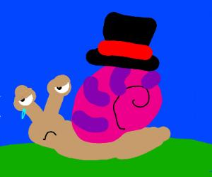 A sad snail wearing a hat