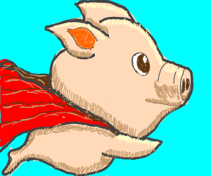 A pig with a red cape