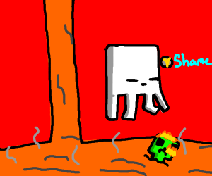Ghast is disappointed in dumb creeper