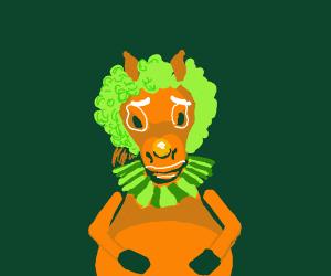 a chubby clown horse