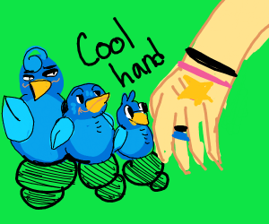 birds and a human hand but its coo