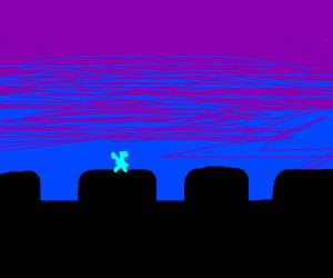 Blue Man on a castle wall