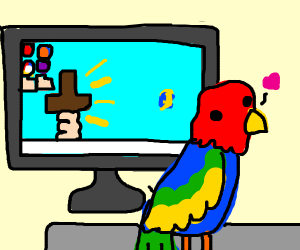 Parrot on a keyboard