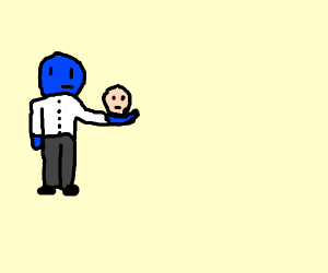 blue professor holding human head on his palm