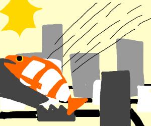 50 ft Clown Fish attacks a city!!