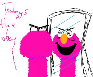 Elmo gives himself a pep talk before killing