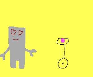 A robot is in love with lips on a unicycle.
