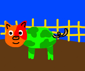 a green pig with brown tail and orange face