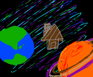 A house floating on outr space btween planets