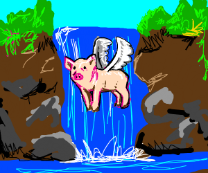 Pig flying in front of a waterfall
