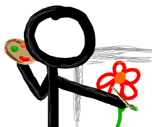 A stick figure drawing a flower