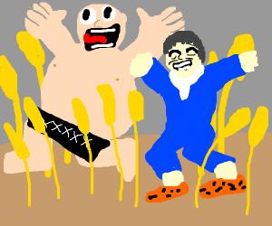 A fat naked man running through wheat