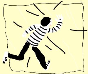 mime runs into wall