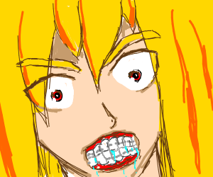 angry blond girl bares her dental braces