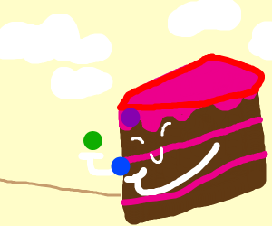 A piece of cake juggles cherries
