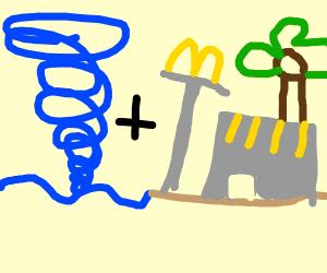 A water tornado + mcdonalds on a beach