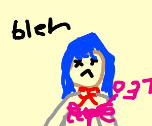 anime girl gets stabbed (danganronpa?)