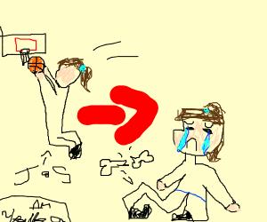 Jumpshot ends in broken leg