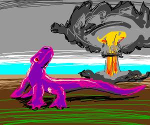 nuke being dropped on mutant lizard