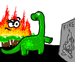 Green dinosaur shows fire drawing to fire