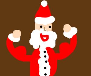 Santa flexing his arms