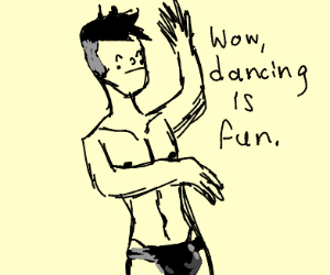 Guy dances in speedo