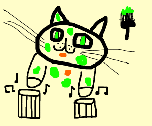 bongo cat with paint all over him