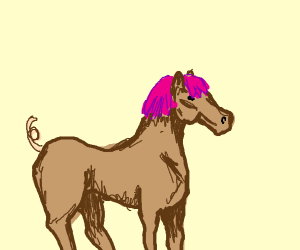 Weird horse with pigtail and pink wig