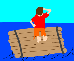 Man on a raft looking at sky