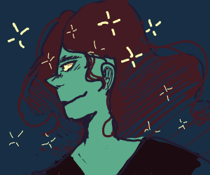 boy with stars on his hair, starry sky behind