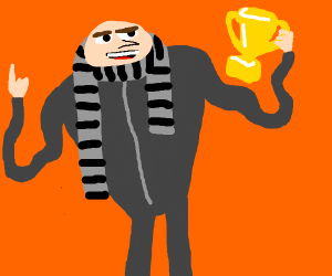 Gru steals trophy with noodle arms