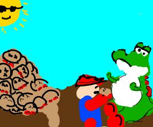 Mario feeding Yoshi