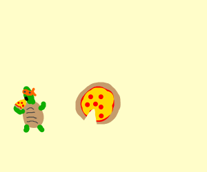 Turtle eating pepperoni pizza
