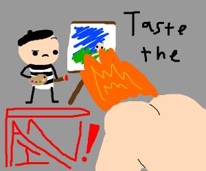 Farting fire at an artist