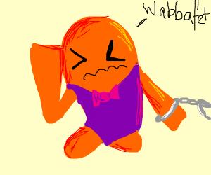 Orange Wabbuffet in purple suit aressted